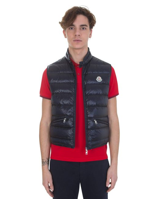 Moncler | Blue Nylon Quilted Padded Gilet for Men | Lyst