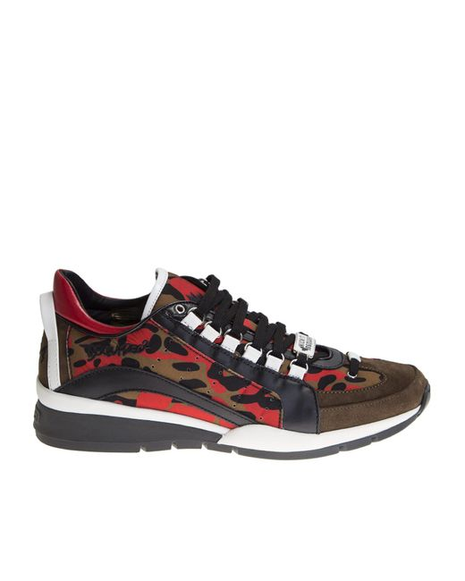 DSquared² | Leather And Chamois Multicolor 551 Sneakers for Men | Lyst