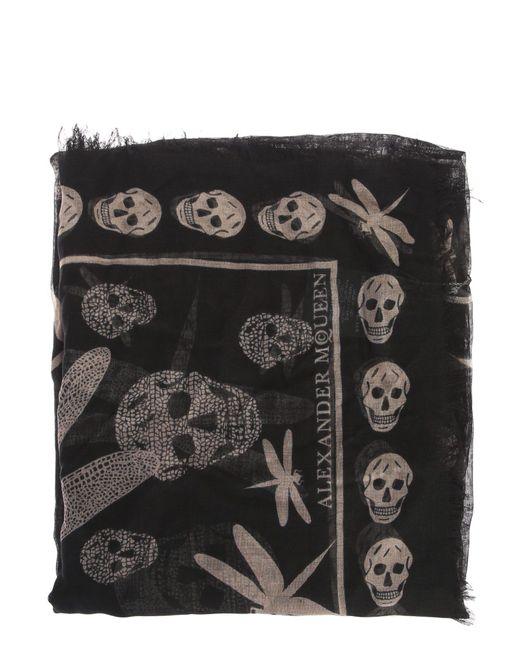 Alexander McQueen | Silk And Modal Scarf With Pink Skulls And Dragonflies | Lyst