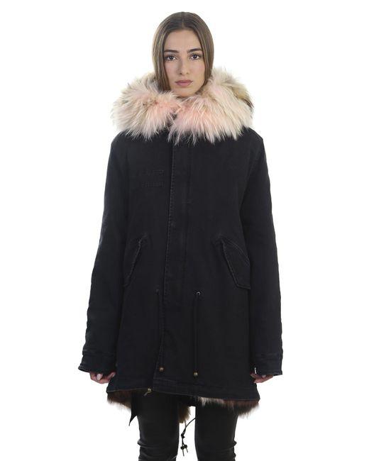 Mr & Mrs Italy | Blue Denim And Fur Parka Coat | Lyst