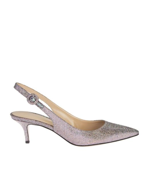 Gianvito Rossi | Metallic Silver Lurex And Leather Anna Chanel Shoes | Lyst