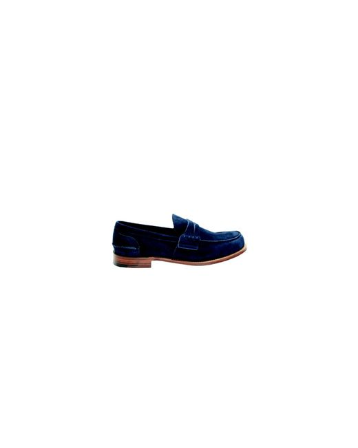 Church's - Dark Blue Suede Pembrey Loafers for Men - Lyst