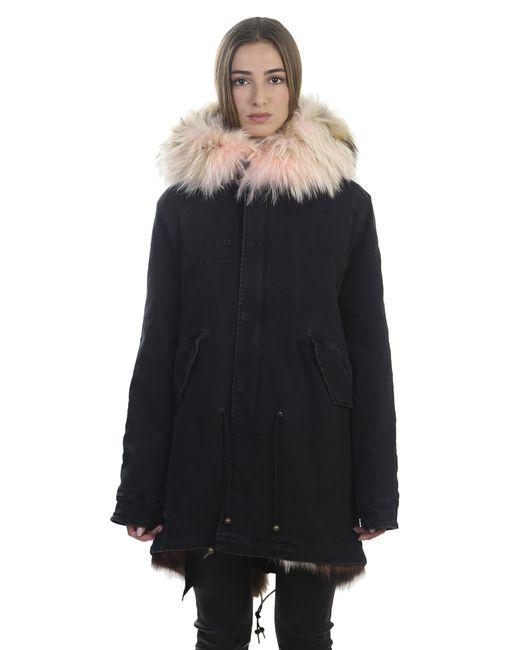 Mr & Mrs Italy   Blue Denim And Fur Parka Coat   Lyst