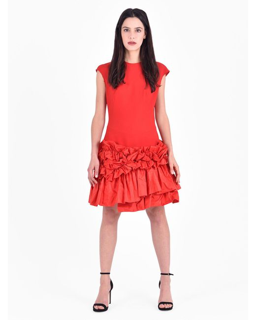 Alexander McQueen - Red Ruched Wool Blend Dress - Lyst