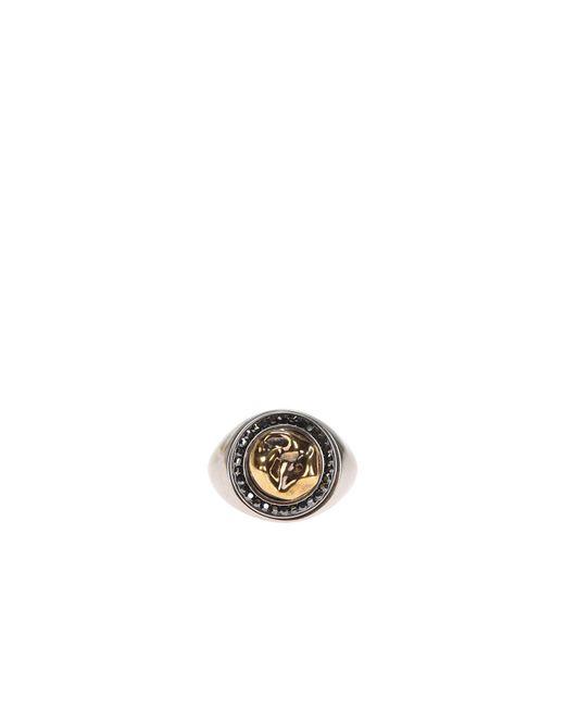 Alexander McQueen - Metallic Brass Ring With Swarovski Crystals for Men - Lyst