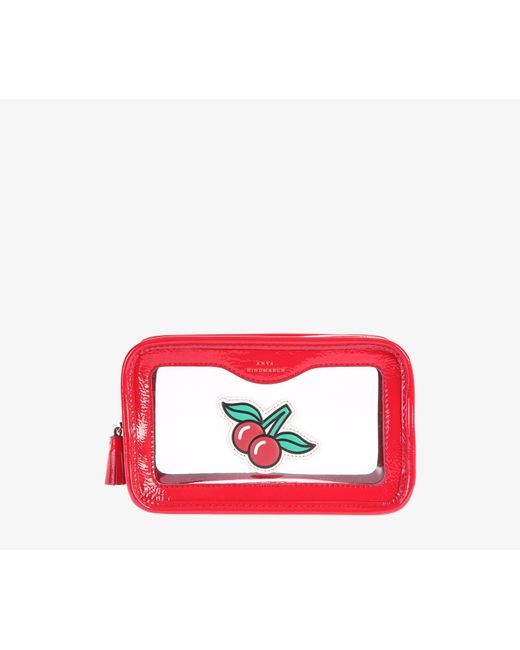 Anya Hindmarch - Red Leather And Pvc Clutch - Lyst