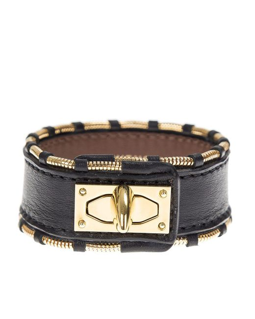 Givenchy - Metallic Leather And Gold Metal Shark Bracelet for Men - Lyst