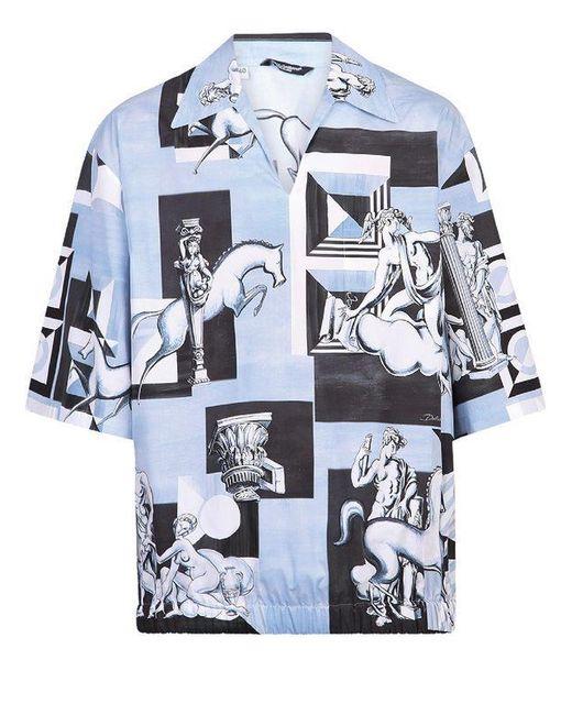 Camicia di cotone con stampa di Dolce & Gabbana in Blue da Uomo