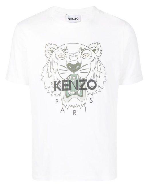 KENZO White Printed Cotton T-shirt for men
