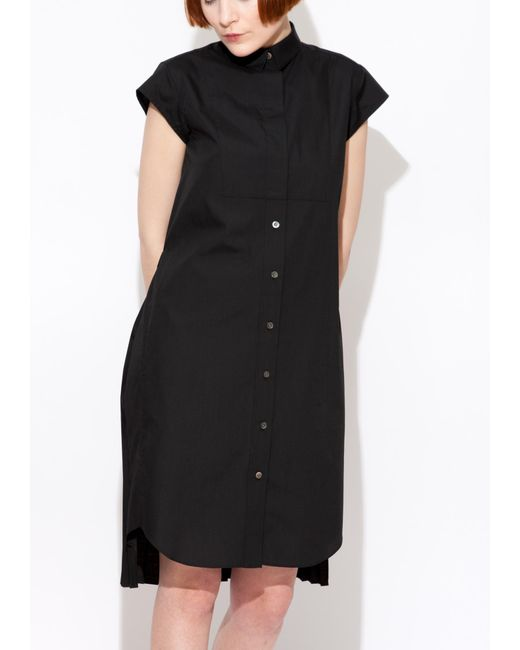 Sacai | Black Pleated Shirt Dress | Lyst