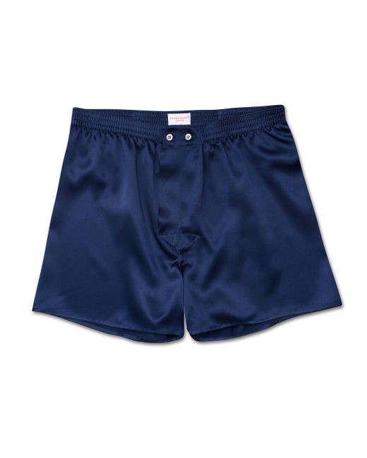 Derek Rose Blue Classic Fit Boxer Shorts Bailey Pure Silk Satin Navy for men