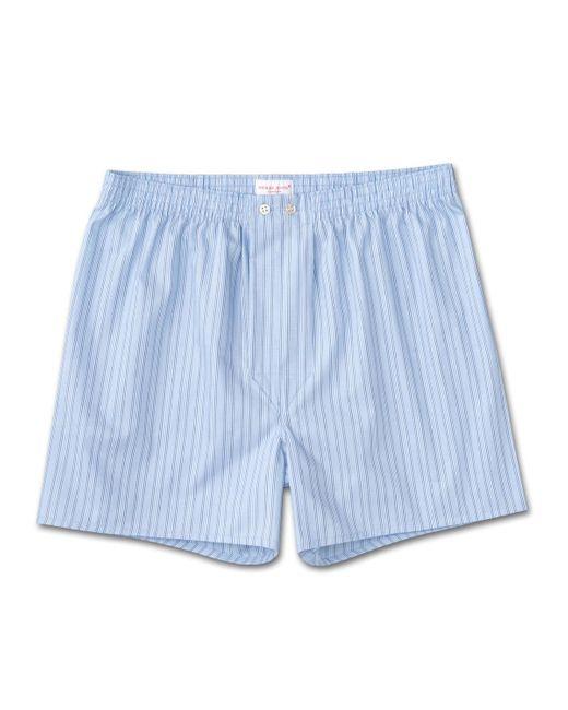 Derek Rose Classic Fit Boxer Shorts Jermyn Pure Cotton Stripe White-blue for men