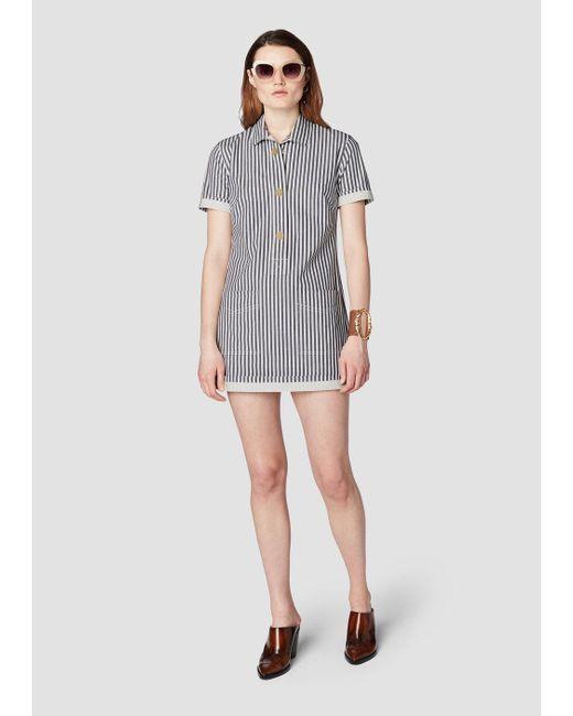 10 Crosby Derek Lam Blue Short Sleeve Utility Shirt Dress Lyst