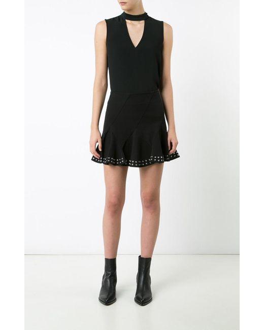 Derek Lam | Black Flare Mini Skirt With Grommets | Lyst