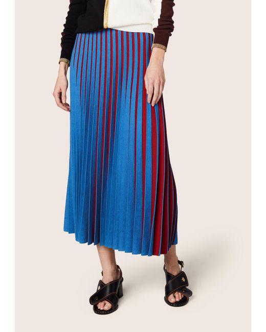 Derek Lam - Red Pleated Stripe Skirt - Lyst