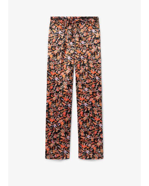 10 Crosby Derek Lam Black Drawstring Waist Paisley Print Pajama Pant