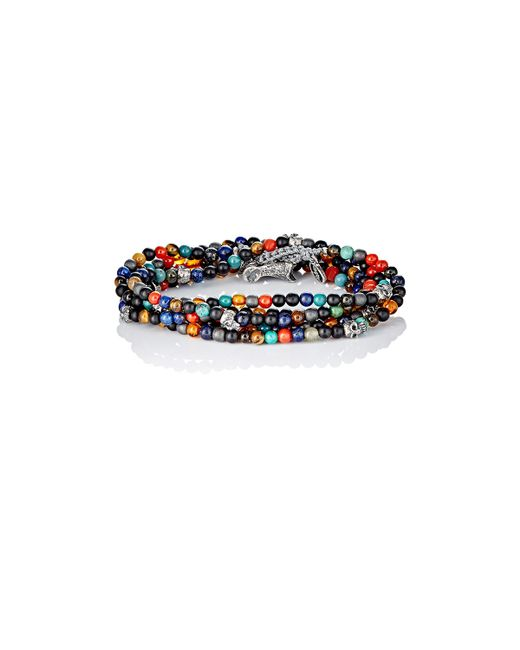 M. Cohen   Multicolor Bead & Skull Charm Wrap Bracelet for Men   Lyst