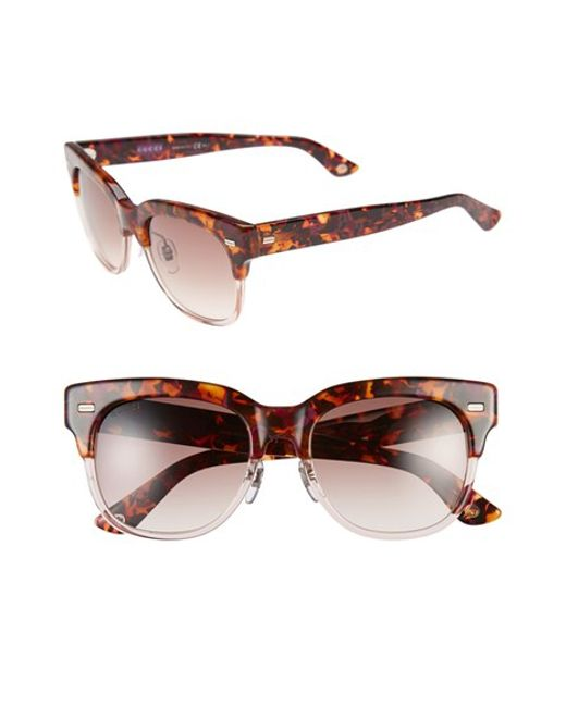 Gucci 52mm Retro Sunglasses - Havana/ Pink in Brown ...
