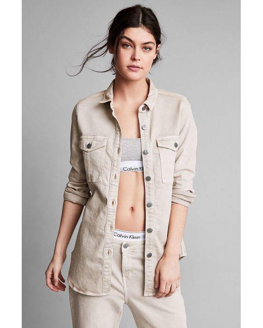 Calvin klein for uo khaki button down utility shirt in for Khaki button up shirt