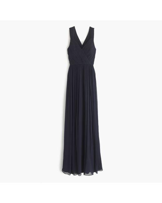 J.Crew | Blue Anabel Long Dress In Silk Chiffon | Lyst
