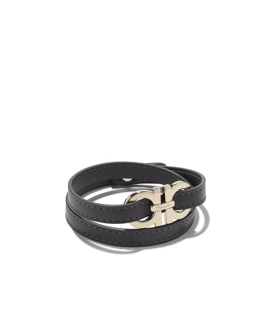 Ferragamo - Metallic Double Wrap Calfskin Bracelet With Double Gancini ...