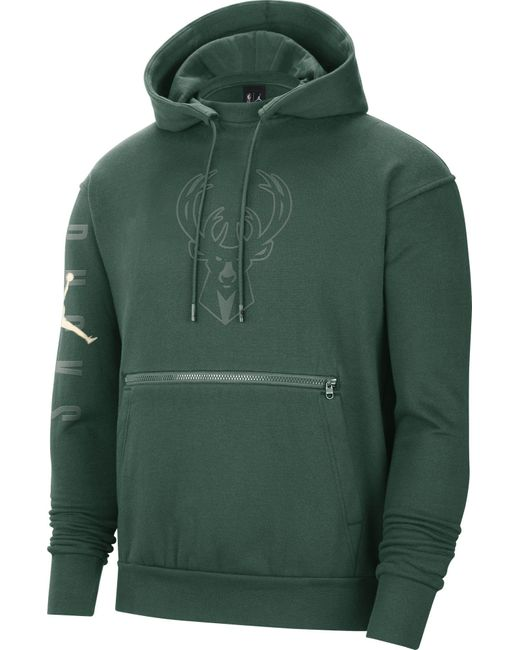 Nike Adult Milwaukee Bucks Green Fleece Pullover Hoodie