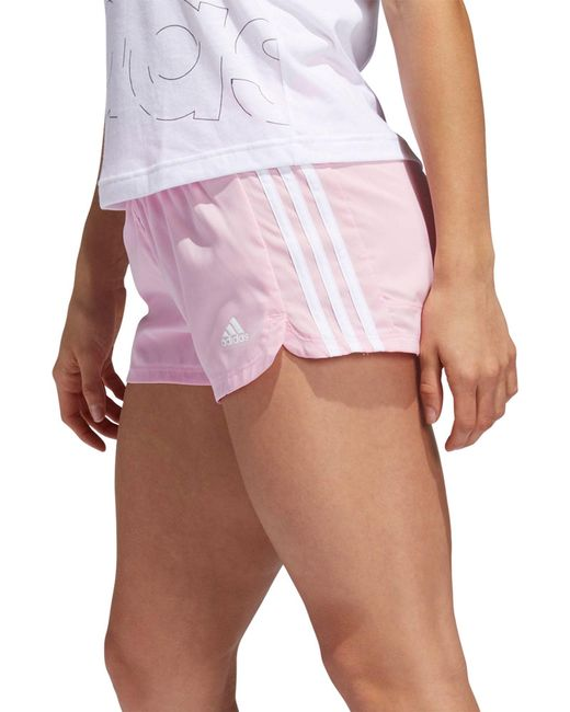 Adidas Pink Pacer 3-stripes Woven Shorts