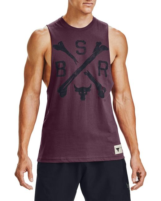 Under Armour Purple Project Rock Bsr Graphic Tank Top for men