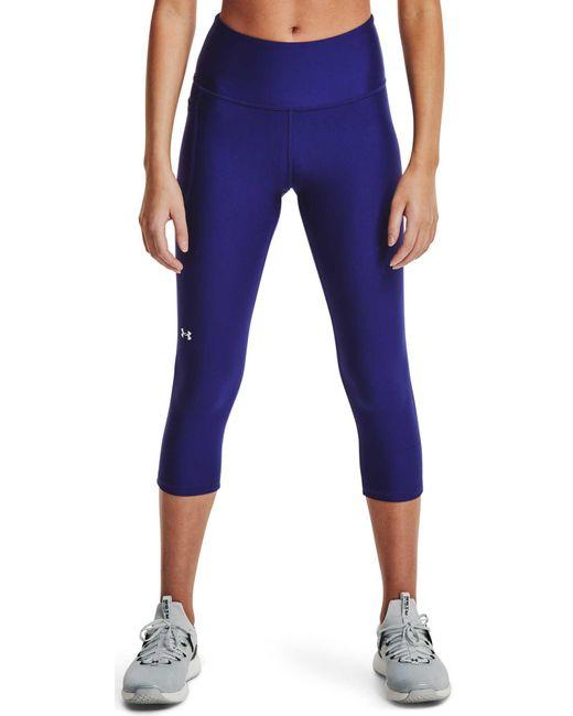 Under Armour Blue Heat Gear High Rise No-slip Waistband Capri Pants