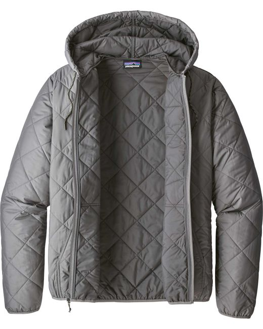 Patagonia Synthetic Diamond Quilted Bomber Hoodie In Gray