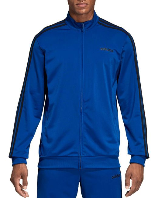 Adidas Blue Essentials 3-stripes Tricot Track Jacket for men