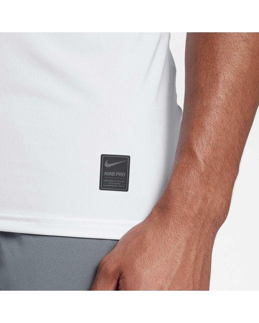 Nike White Men's Pro Sleeveless Mesh T-shirt for men