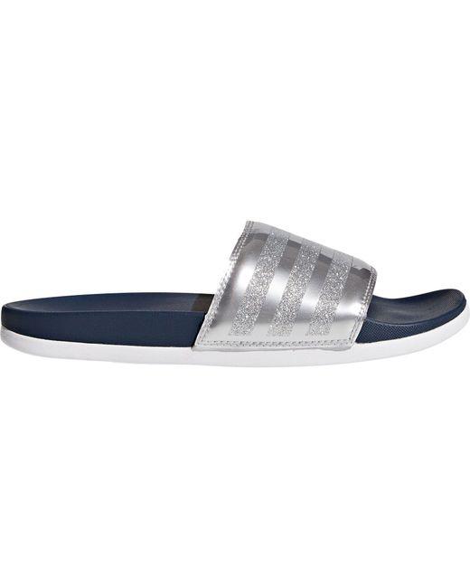 Adidas - Blue Adilette Cloudfoam Plus Explorer Slides - Lyst