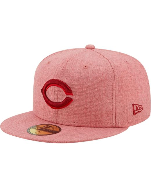 KTZ Cincinnati Reds 59fifty Red Heather Classic Fitted Hat for men