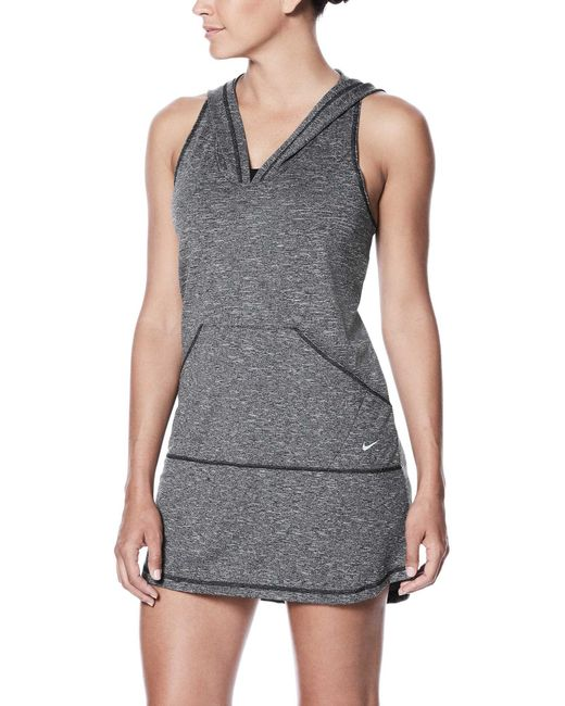 Nike - Black Hooded Swimsuit Cover-up Dress - Lyst