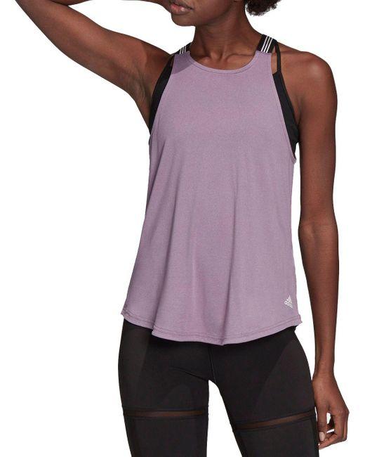 Adidas Purple 3-stripe Neck Tank Top