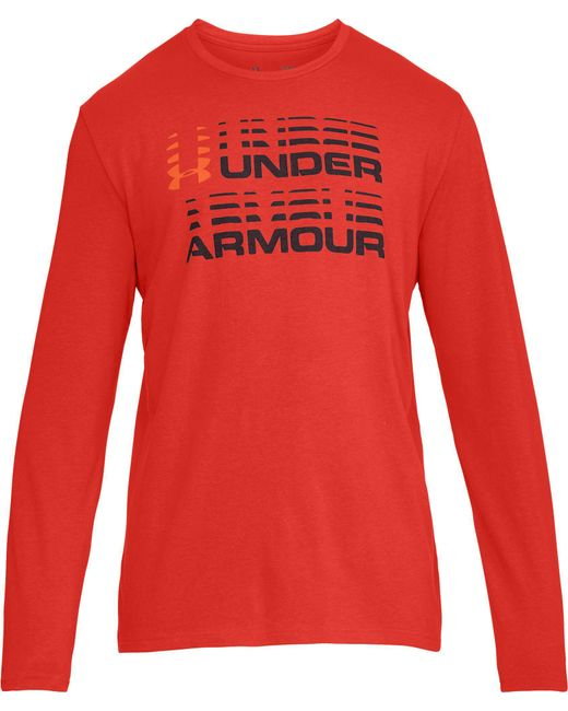9bb99aa8a ... Under Armour - Red Wordmark Glitch Graphic Long Sleeve Shirt for Men -  Lyst ...