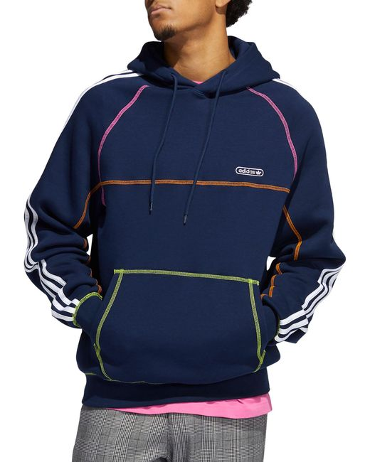 Adidas Blue Contrast Stitch Hoodie for men
