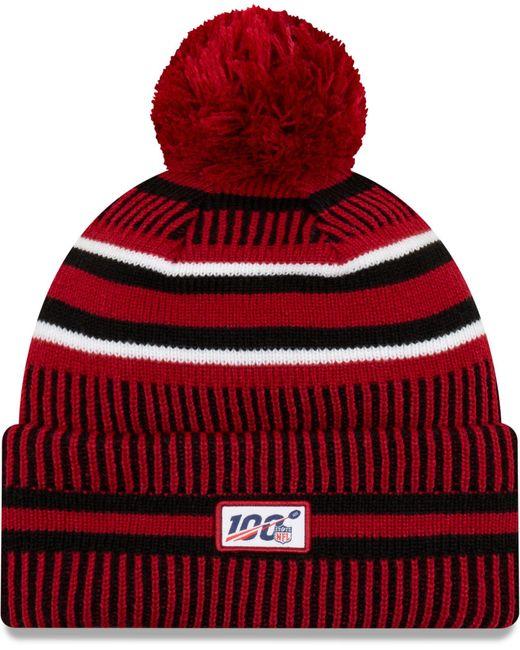 KTZ Red Arizona Cardinals Sideline Home Sport Pom Knit for men
