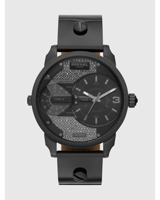 DIESEL Black Dz5584 Mini Daddy Two-hand Gunmetal Leather Watch