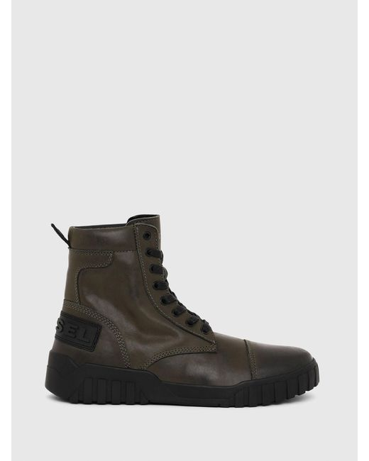 DIESEL Green H-rua Am Sneaker-boots In Leather for men