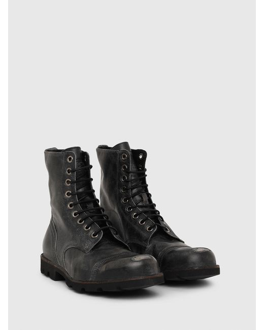 DIESEL Black Hardkor Boots In Sturdy Treated Leather for men