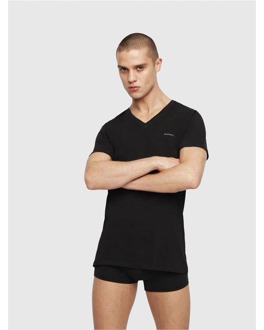 DIESEL - Black V-neck T-shirt With Logo Detail for Men - Lyst