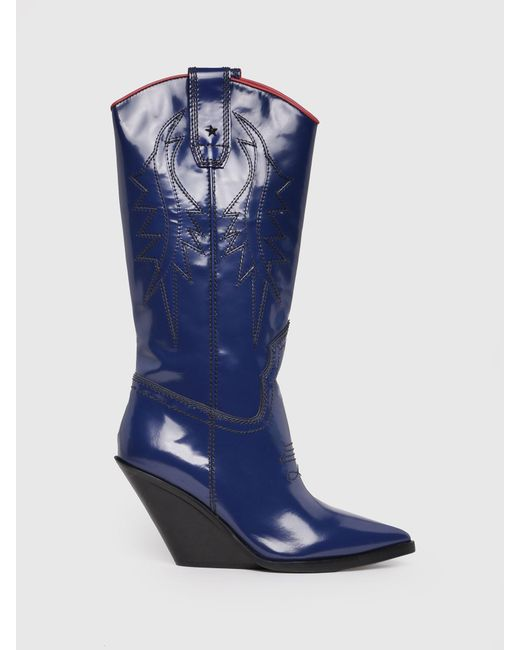 DIESEL - Blue Cowboy Boots In Patent Leather - Lyst