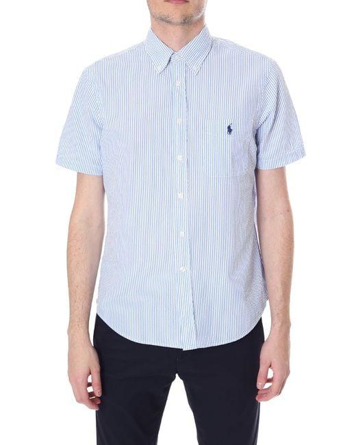 Polo Ralph Lauren - Men's Seersucker Short Sleeve Shirt Blue for Men - Lyst