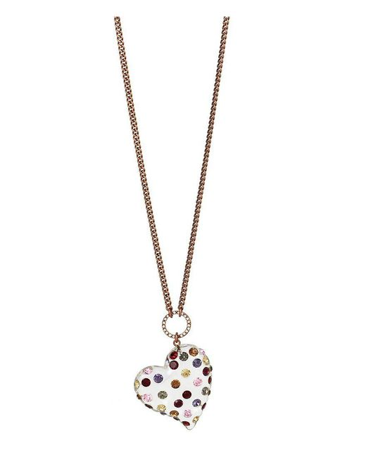Betsey Johnson | Metallic Mixed Stone & Lucite Heart Pendant Necklace | Lyst