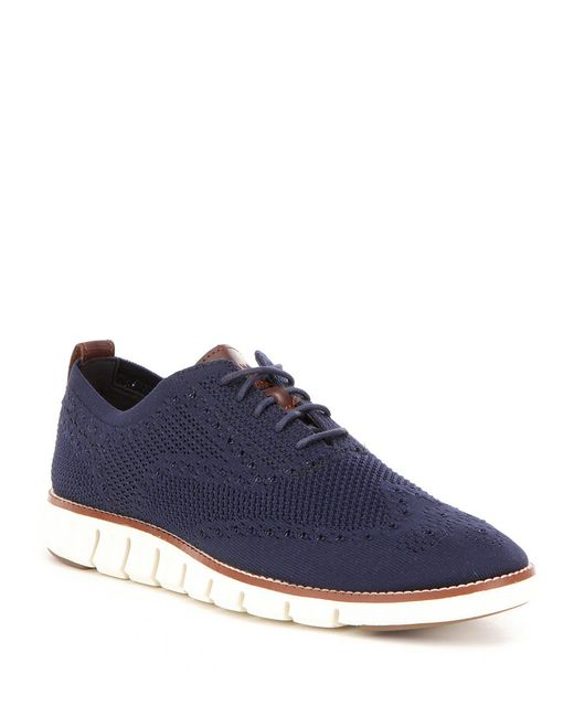 Cole Haan - Blue Men ́s Zerogrand Perforated Knit Lace Up Oxfords for Men - Lyst