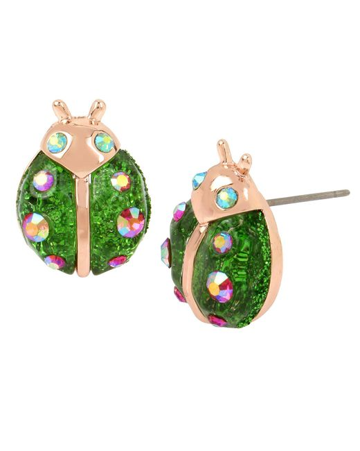 Betsey Johnson - Green Ladybug Stud Earrings - Lyst