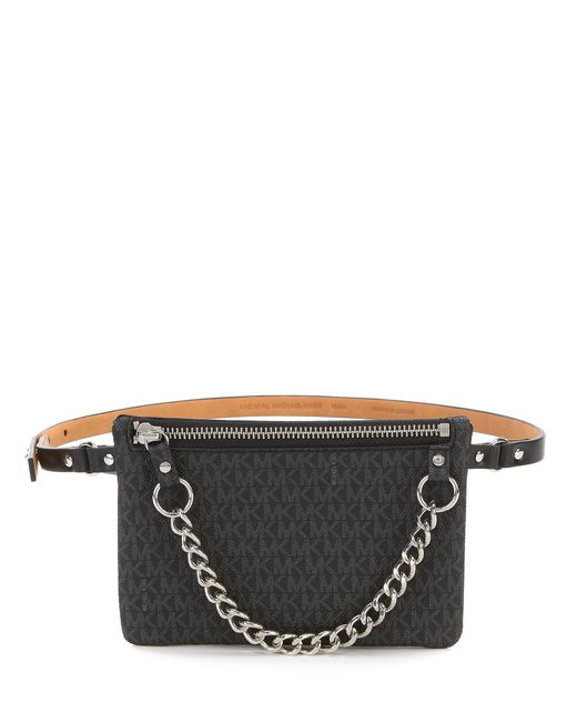 05e8f0b9f595 Lyst - Michael Kors Belt Bag With Pull Chain in Black - Save 29%