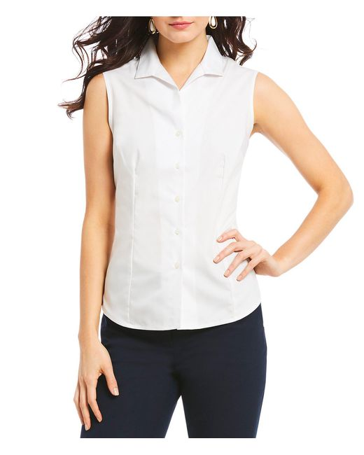 Jones New York - White Easy-care Cotton Sleeveless Shirt - Lyst